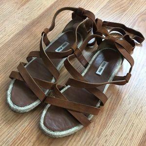 Miu Miu Leather Lace Up Edpidrille Sandals 37.5